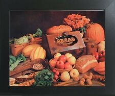 Food and Bread Still Life Kitchen Wall Decor Contemporary Black Framed Picture