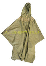 USGI Military Wet Weather Hooded Rip-Stop Rain Poncho OD Green FAIR