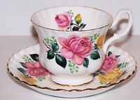 STUNNING ROYAL ALBERT ENGLAND PINK & YELLOW ROSES WITH GOLD TRIM CUP & SAUCER