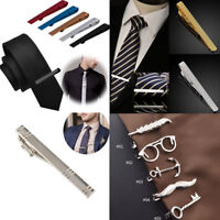 Men's Alloy Metal Gold&Silver Tone Simple Necktie Tie Bar Clasp Clip Clamp Pin
