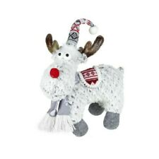 """Grey Red Standing Christmas Reindeer Plush Fabric Decoration Ornament 40 cm 16"""""""