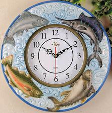 Fish embossed Ceramic Wall Clock