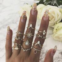 12pcs Crown Moon Star Bohemian Knuckle Midi Opal Rings Set Finger Ring Gold Tone