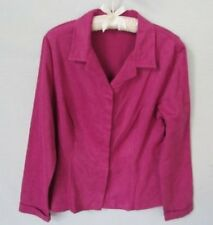 Worthington fuchsia faux suede long sleeve cuffs blouse shirt *Sz 12*