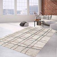 Teppich Flachflor Modern Meliert mit Streifen-Muster Grau Creme für Wohnzimmer