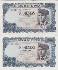 More details for two spain p153a 500 pts banknotes 1971 in extremely fine or better condition