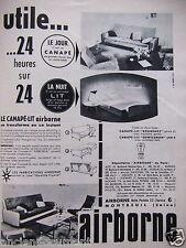 PUBLICITÉ 1955 CANAPÉ LIT AIRBORNE UTILE 24 HEURES SUR 24 - ADVERTISING
