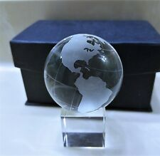 BEAUTIFUL SPARLING GLASS ETCHED WORLD GLOBE  on Cube Stand W/CASE-LIKE NEW