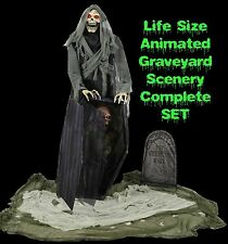 Halloween Animated Life Size GRAVEYARD REAPER Talking Haunted House LED PROP SET