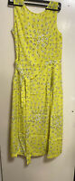 L.K. BENNETT PERRY YELLOW LEMON FLORAL MIDI CALF BELTED DRESS UK 10