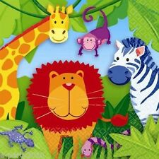 JUNGLE ANIMALS SMALL NAPKINS (16) ~ Birthday Party Supplies Cake Beverage Safari