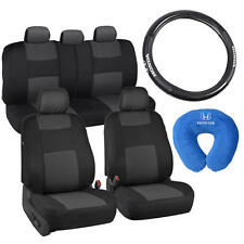 Black/Charcoal Gray Car Seat Covers Steering Wheel Neck Pillow for Honda Civic
