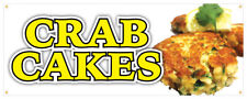 Crab Cake Banner Fresh Hot Lump Krab Seafood Concession Stand Sign 36x96