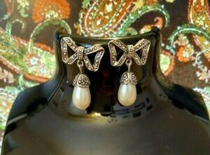 VINTAGE EARRINGS Pierced 1970/80s Silver Tone BOW Faux Pearl Marcasite Style.