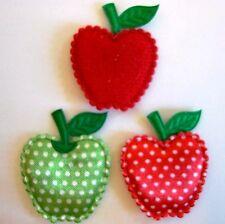 "60 Red & Green 1.25"" Apple Felt Fabric Applique/Satin Dot/Craft/Sewing/Trim L25"