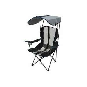 Kelsyus Premium 50+ UPF Camping Folding Lawn Chair with Canopy, Navy (Open Box)