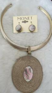 MONET Brushed Gold tone Mother Of Pearl Pendant Collar Necklace & Earring Set