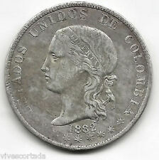 Colombia 5 Decimos 1882 Medellin plata  @ Bella @