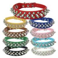 Pet Dog Puppy Cat Rivet Spiked Studded Neck Strap PU Leather Buckle Collar N5O7
