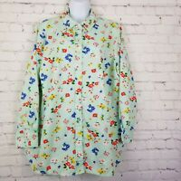 Woman Within Women Blouse Top Shirt Size 18 - 20 Button Long Sleeve Green Floral