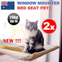 2Pcs Cat Basking Window Bed Hanging Mounted Hammock Perch Shelf Seat Cushion