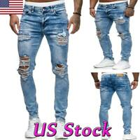 Retro Men Stretch Ripped Skinny Jeans Distressed Slim Fit Biker Denim Pants S-XL