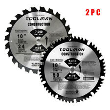 "Circular Saw Blade 10"" 5/8"" 24T & 50T 2 pcs for DeWalt & Makita Table Carbide"