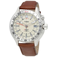 Timex Intelligent Cream Dial Mens Leather Watch T2P426DH