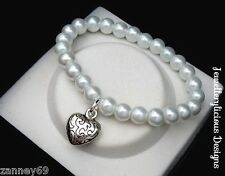 Beautiful White Glass Pearl Bead & Silver Puffed Love Heart Bangle 15cm -20cm