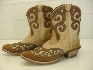 Women's 7 B M Ariat Rio Oak Barrel Leather Cowboy Boots Cut-Out Inlay Brown Tan