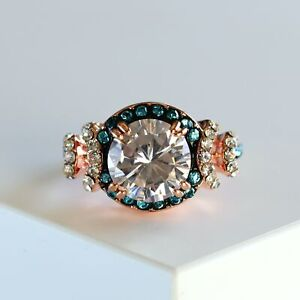 Round Cut Halo Blue CZ Rose Gold Engagement Ring Promise Ring