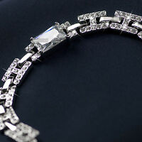 18k white gold gf simulated diamond wedding bride women chain bracelet luxery