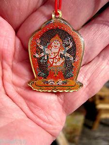 WRATHFUL DHARMA PROTECTOR 4 ARM WHITE MAHAKALA TIBETAN BUDDHIST PENDANT W/MANTRA
