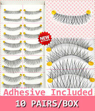 10 Pairs False Eyelashes Handmade Long Cross Natural  Fake Eye Lashes Black #8
