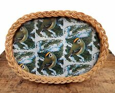 Vintage Retro Mid Century Small Serving Tray Wicker Goldcrest Bird Design