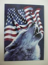6 wolf and flag tree free greeting cards blank with matching envelopes