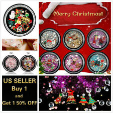 3D Christmas Nail Art Decals Set Rhinestones Glitters Beads Tips Decorations