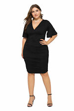 Plus Size Womens Evening Party Wrap Dress Ladies Summer Cocktail Pencil Dress UK
