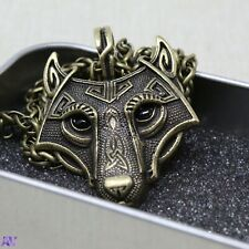 Viking Wolf Head Pendent Necklace - Brass Colour