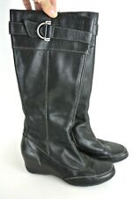 Circa Joan & David CJ Tall Black Leather Boots Women's 7.5 M Shoes Wedges