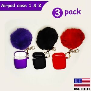 Cute Airpods Case Silicone Cover Fur Ball Keychain Strap for Airpods 1/2 - 3Pack