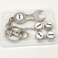 Jeep Metal Wrench Keyring + a set of 4x Tyre Valve Dust Caps Gift For Him Her