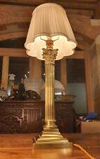Huge Antique English Brass Corinthian Column Table Lamp, Edwardian, Rewired