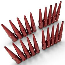 Extended Spike Lug Nuts 1/2-20 Cone fit JEEP XJ CJ YJ TJ JK Wrangler Rubicon Red