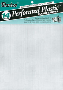 """Darice Perforated Plastic Canvas 14 Count 8.5""""X11"""" 2/Pkg-Clear, 39500-1"""
