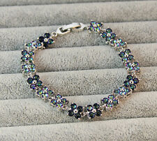 18K White Gold Filled - Blue MYSTICAL Rainbow Topaz Clover Flower Prom Bracelet