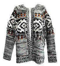 NEW VOLCOM WOMENS BOHO FRINGE SWEATER CARDIGAN KNIT TOP OPEN FRONT JACKET SZ M/L
