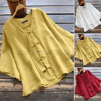 ZANZEA Women Relaxed Fit Loose Summer Shirt Tee 3/4 Sleeve Top Kimono Blouse