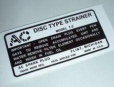 Decalcomanie decal filtre essence jeep willys MB standard ww2