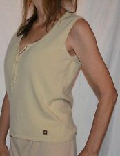 CHANEL cream color 100%  Cashmere Sleeveless Sweater Tank Top sz 44 CC logo